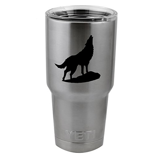Howling Wolf Silhouette Vinyl Sticker Decal for Yeti Mug Cup Thermos Pint Glass (4' Wide - Decal ONLY, NO Cup)
