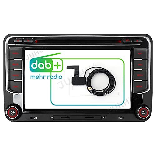 "Junhua 7\"" 2Din Built-in DAB+ Autolink Autoradio für VW Passat B6 Golf 5 6 Touran Tiguan Transporter T5 Polo EOS DVD GPS Navigation Bluetooth 5.0 USB Unterstützt Lenkrad 16GB Navi Karte RDS Dual Zone"