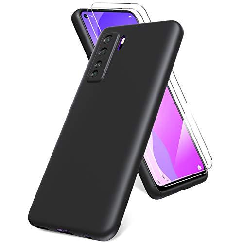 All Do Oududianzi Funda para Huawei P40 Lite 5G, Protector Pantalla Cristal Templado, Carcasa de Silicona Líquida Gel Ultra Suave Funda con tapete de Microfibra Anti-Rasguño - Negro