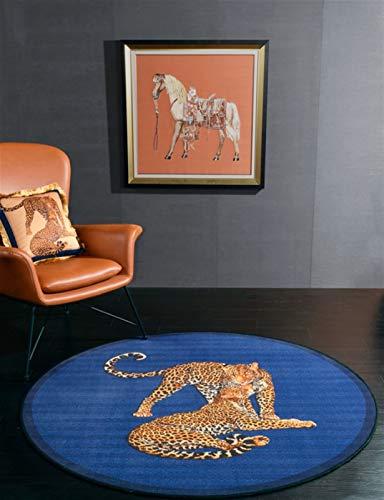 N / A Ronda Animales Alfombras Vintage Gran Sala De Estar Moderna Alfombras Shag Dormitorio Alfombras Suave Sala Infantil Alfombras Decoración Mats (Color : Azul, Talla : 150x150cm)