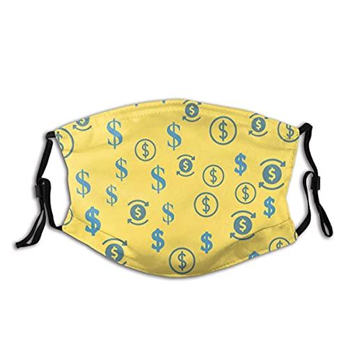 Bufanda facial con bucles para los oídos símbolo de dólar en el fondo amarillo decoraciones faciales respirables protector bucal reutilizable para niños niñas motociclismo escalada