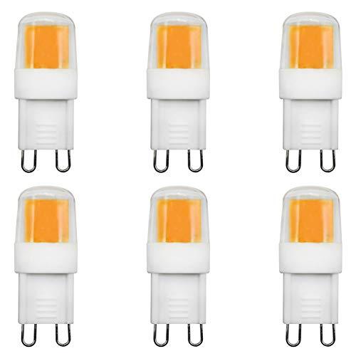 2W G9 LED Birnen Entspricht 25W Halogenlampen Nicht Dimmbar AC 220-240V 360°LED-Ausstrahlwinkel Mit G9-Sockel 3000K Warmweiß, 6er-Pack[MEHRWEG]