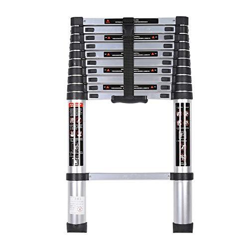 Qiilu-ladder, 3,2 m Huishoudelijke aluminium draagbare uitschuifbare dikke vouwladder voor multifunctioneel gebruik