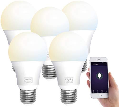 Luminea Home Control Alexa Licht: 5er-Set WLAN-LED-Lampen, E27, 800lm, für Alexa & Google Assistant, CCT (Alexa-Glühbirne E27)