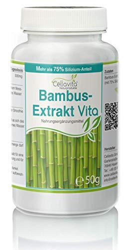 Cellavita | Bambus-Extrakt Vita | 50g Pulver (100 Tages-Vorrat) & Vorsorgepaket mit sehr hohen Anteil (75{d73f31a723f9f85c55119522ca38160f665c4cd94499372912e43371950ce052}) an Silizium | 50g Pulver