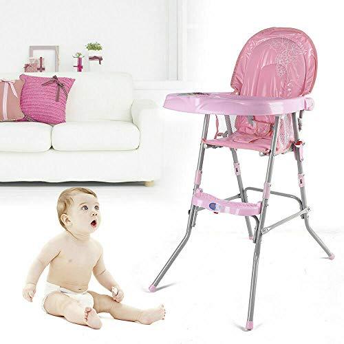 Trona para bebé, altura ajustable, trona plegable con cinturón de seguridad y...