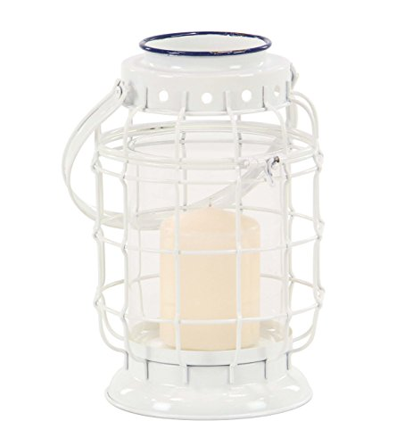 Deco 79 64330 Candle Lantern, White, Clear, Blue