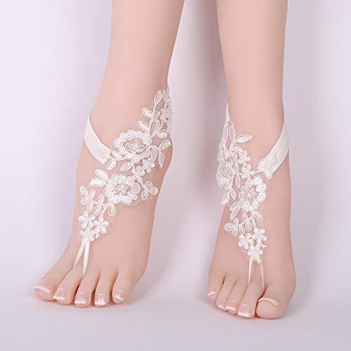 shenlanyu Tobillera de verano de ganchillo de novia sandalias descalzas de encaje...