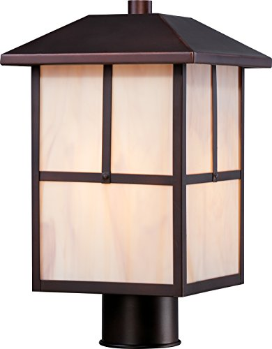 Nuvo Lighting 60/5675 Tanner Post One Light Lantern 100-watt A19 Outdoor Porch and Patio Lighting with Honey Stained Glass, Claret Bronze