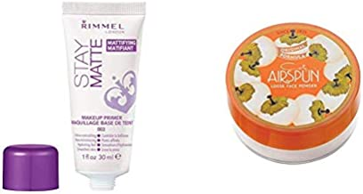 Rimmel Stay Matte Primer, 1 Ounce (1 Count), Makeup Primer with Coty Airspun Loose Face Powder 2.3 oz. for Setting Makeup or as Foundation, Lightweight, Long Lasting
