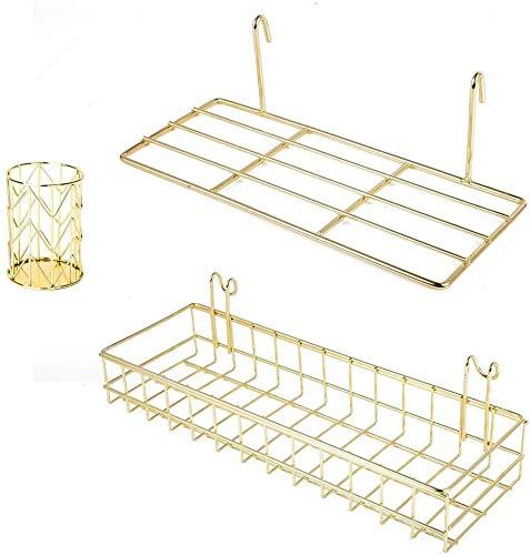 BULYZER 2pcs Gold Korb für gridwal StüCke Gold Gitterkorb Shelf für Wall Grid Panel Wandhalterung Organizer und Storage Shelf Rack für Haus Bedarf