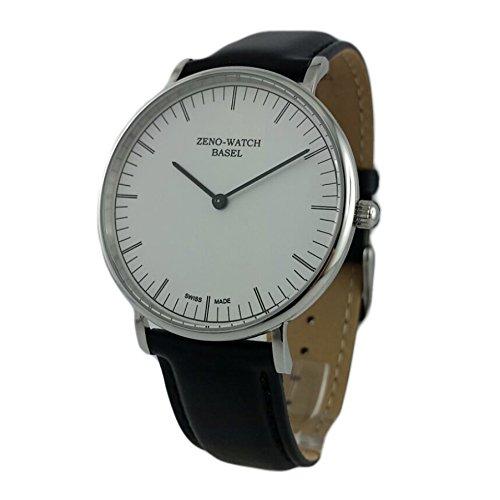 Reloj Suiza Zeno, cristal, zafiro), pulsera cuero negro