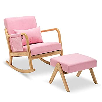 Nursery Rocking Chairs Nursery Rocking Chair Upholstered Rocking Chair with Foot Rest  Light Pink