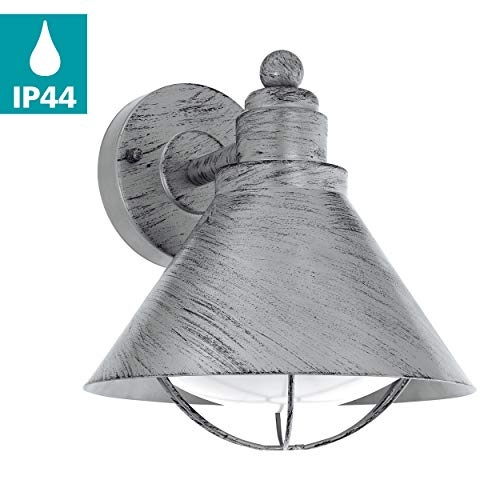 EGLO Außen-Wandlampe Barrosela, 1 flammige Außenleuchte, Wandleuchte aus Stahl verzinkt, Farbe: Silber-antik, Fassung: E27, IP44