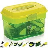 Adozen Caja de limpieza para caballos con contenido, 10 piezas rellenas, asas antideslizantes suaves al tacto, color verde, amarillo y verde