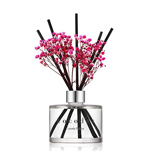 Cocod'or Preserved Real Flower Reed Diffuser, Lovely Peony Reed Diffuser, Reed Diffuser Set, Oil Diffuser & Reed Diffuser Sticks, Home Decor & Office...