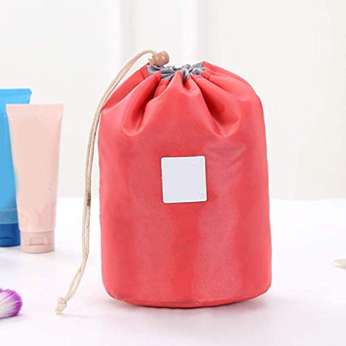 Lambrio Makeup Organizer Travel Bag + PVC Transparent Brush Bag Small Pouch Barrel Shaped Cosmetic Bag Large Capacity Pouch Round Drawstring Toiletry Organizer Bag (Red)