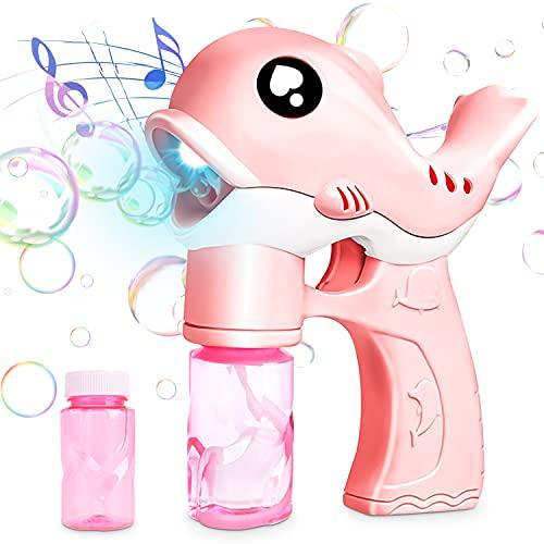 Bubble Machine,Macchina per Bolle per Bambini,Creatore di Bolle,Macchina per Fare Bolle Automatica,Giocattoli Bubble Maker con Musica e Giochi da Giardino Leggeri,per Bambini Ragazzi,Matrimoni (Rosa)