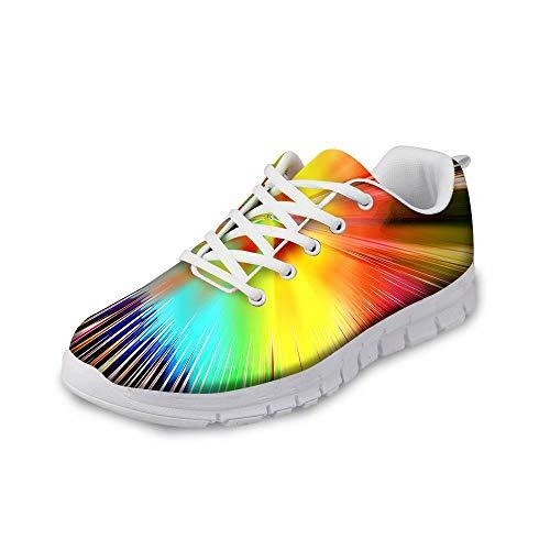 MODEGA schillernde Schuhe Glitzerschuhe Bunte Freizeitschuhe Bequeme Turnschuhe für Frauen Plus Größe Walking Sneaker Schnürsenkel blau Golfschuhe der Männer Frauen Musters Größe 40 EU|6 UK