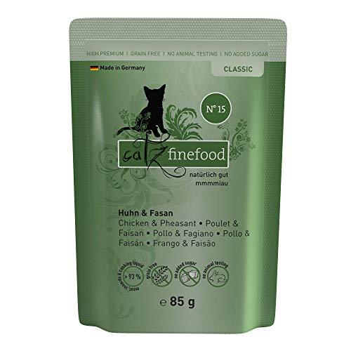 catz finefood N° 15 Huhn & Fasan Feinkost Katzenfutter nass, verfeinert mit Quinoa & Kresse, 16 x 85g Beutel