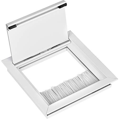 Gedotec Kabeldurchlass weiß matt   Kabelausgang eckig 100 x 100 mm   ECO   Kabeldose aus Aluminium   Schreibtisch-Durchlass mit Bürstendichtung   1 Stück - Kabeldurchführung zum Einlassen