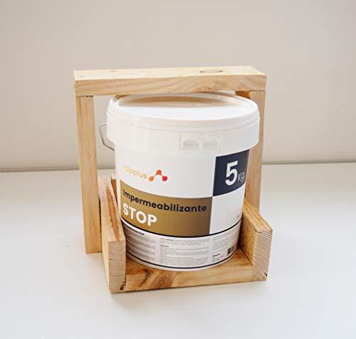 Revestimiento Elástico Impermeabilizante Stop · Pintura para Impermeabilizar parámetros horizontales en Terrazas, Azoteas, Balcones y Tejados · Color Blanco · 5KG (4,15 L)