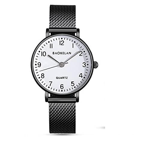 WYH Reloj de Pulsera Mira la atmósfera Informal Tide Reloj Moda Cuarzo Cronógrafo Relojes de Pulsera Ladies Estudiante Estudiante A Prueba de Agua Pareja Reloj Ultra Fino (Color : Black)