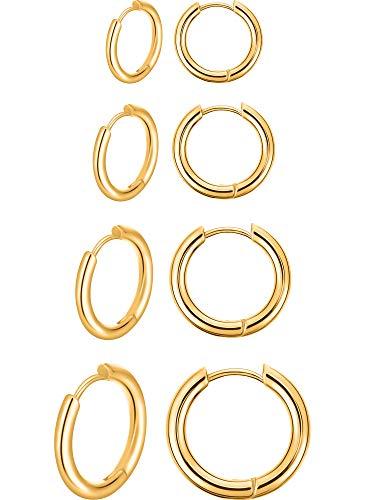 4 Paia Orecchini a Cerchio in Acciaio Inox Anelli di Naso Labbro Orecchini a Cerchio di Cartilagine Piccoli per Uomo Donna, 8 mm, 10 mm, 12 mm, 14 mm (Oro)