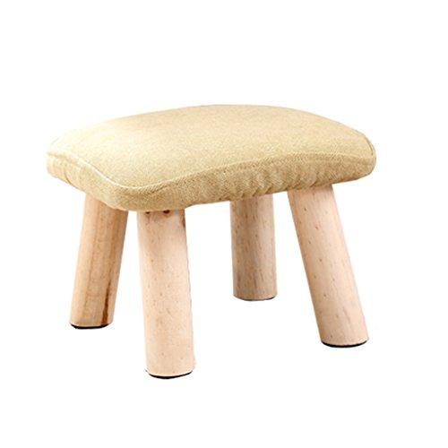 Mode couleur tissu solide bois tabouret canapé tabouret enfants simple tabouret 28 * 28 * 20cm (Color : Natural)