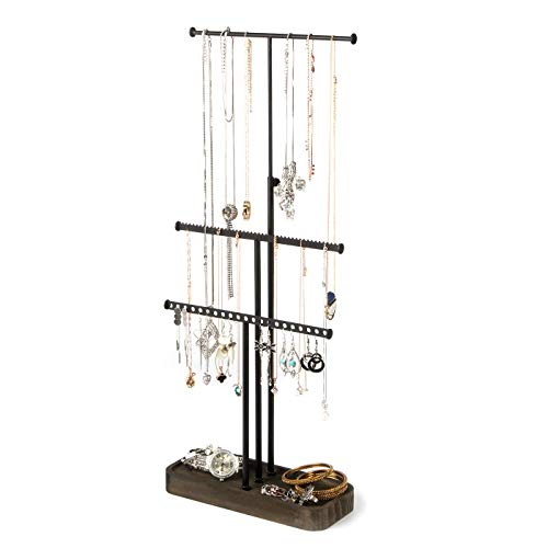 JackCubeDesign Wood 3 Tier Jewelry Display Stand Tree Organizer Bracelet Necklace Holder Rack Hanger Tower with Rustic Metal Texture Earring Ring Tray Storage :MK446A