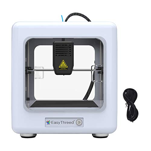 KKTECT Mini 3D Printer, 90 * 110 * 110mm Printing Size One Key Printing for Child Teaching, DIY, and Present. Portable Fully Assembled Printer with Slicing Software, CE Certificate. (white)
