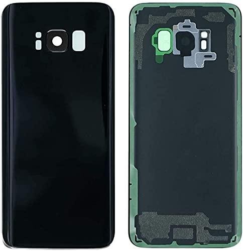 KIT 3 Pezzi Copri Batteria + biadesivo + lente compatibile per SAMSUNG GALAXY S8 G950 G950F Ricambio Vetro Posteriore Back REAR Cover Retro Scocca adesivo + lente obbiettivo CAMERA (Nero)