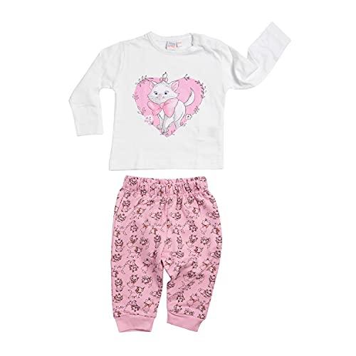 Disney Aristocats Mädchen Baby Set Oberteil Pullover mit Hose 2-Teiler Rosa/Weiß Gr. 74-80