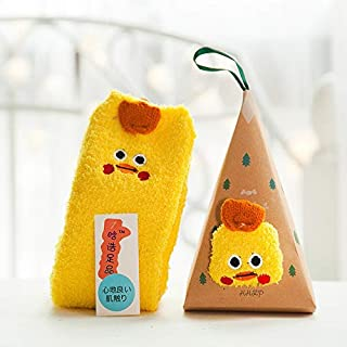 Zyalex - Christmas Gift 3D Design Fluffy Coral Velvet Thick Warm Socks For Women Towel Floor/Sleeping Sock High Quality Sox with Gift Box