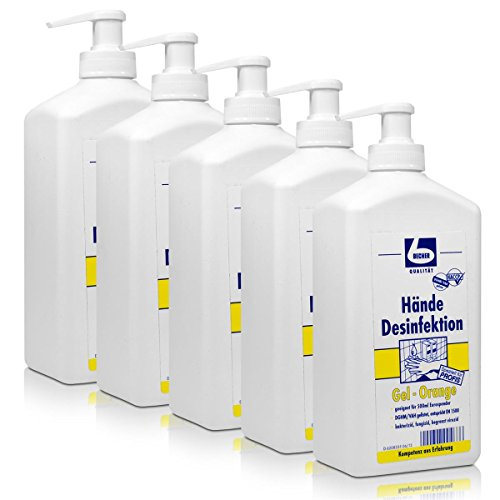 5x Dr. Becher Hände Desinfektion Gel-Orange 500 ml