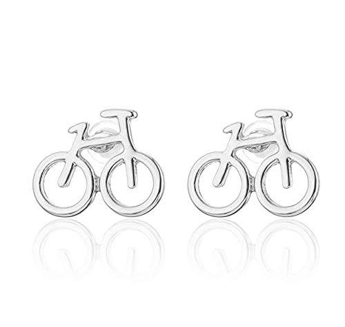 iszie Pendientes de plata de ley para mujer, diseño de bicicleta