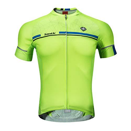Santic Maillot Ciclismo Hombre Verano Maillot Bicicleta Montaña Bike MTB Camiseta con Mangas Cortas Verde EU XXL