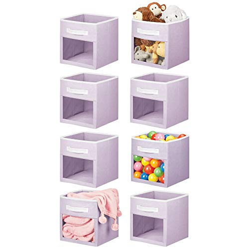 mDesign Soft Fabric Closet Storage Organizer Cube Bin Box with Easy-View Front Window, Handle - for Child/Kids Room, Nursery, Playroom, Furniture Unit, Shelf - 11' High, 8 Pack - Light Purple/White