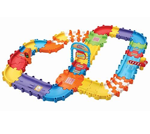 VTech Pistas con tramos Bólidos, Set de Piezas Flexibles para Formar más de 6 circuitos Diferentes, se Pueden conectar con el Resto de playsets TutTut (3480-524422), Multicolor