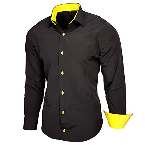 Baxboy Elastisch Hemd Slim Fit für Freizeit Business Hochzeit Reine Farbe Hemd Kentkragen Langarm Kontrast Herren-Hemd B-502, Größe:L, Farbe:Schwarz/Gelb