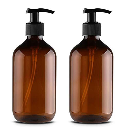 JamHooDirect Leere Pumpflaschen aus Kunststoff, nachfüllbar, für Lotion, Shampoo, Dusche, Duschgel, 2 Stück, 500 ml, braun (Braun) - SB-122