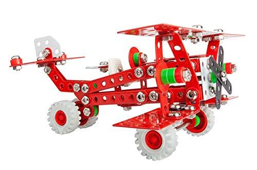 Alexander 1655 Constructor Baron Retro Flugzeug Metall Bausatz, 254 Teile Metallbaukasten, Metallbausatz Roter Doppeldecker und Kunststoff Elementen, Konstruktionsspielzeug für Kinder ab 8 Jahren