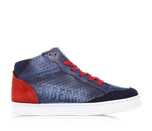 BIKKEMBERGS E1734 Sneaker Bimbo blu Word MID H34 Scarpe Shoe Kid Boy [25]