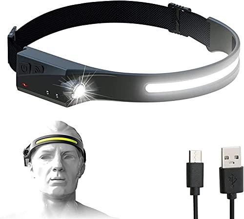 Linterna frontal recargable por USB de 60000 lúmenes, linterna frontal LED con sensor de movimiento, iluminación de 230 °, linterna frontal impermeable, con luz de seguridad, para correr, acampar