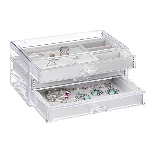 Relaxdays Schmuckkästchen, 3 Schubladen, ver. Fächer, Samt, Kunststoff, Schmuckbox, HBT 10,5 x 23,5 x 15 cm, transparent