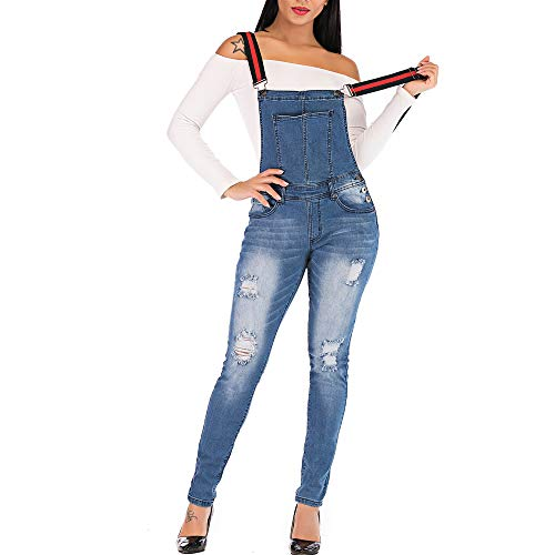 MEISITE Denim Casual Jeans Party Rompers and Jumpsuits for Women Denim Jumpsuit for Women (Small, Blue5)…