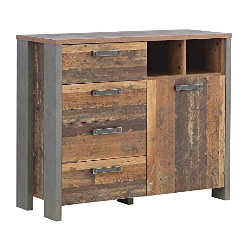 FORTE Kommode, Sideboard in trendigem Vintage/Industrial Look mit einer Tür und vier Schubkästen
