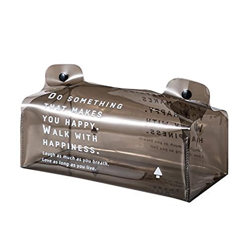 ZYZZ Caja de pañuelos de Escritorio Creativa Dispensador de pañuelos de plástico de Doble Hebilla Contenedor de Almacenamiento de cosméticos multifunción de Gran Capacidad (Color : Grey)