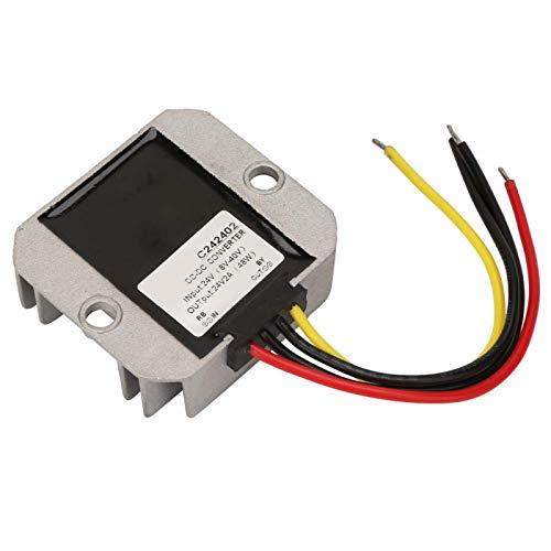 Regulador de voltaje de 24 V, regulador de voltaje de refuerzo de carcasa de aluminio impermeable Ip68, 8-40 V a 24 V a prueba de polvo para la pantalla del coche del ventilador(2A)