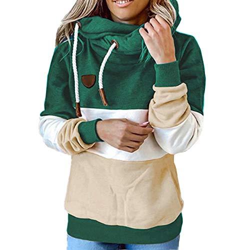 WUDUHUI Autunno E Inverno Abbigliamento da Donna Felpa con Cappuccio con Cucitura Top Casual Allentato